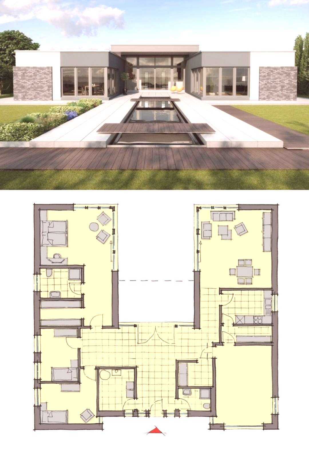-  Bungalow House Design Modern European Contemporary Architecture with Pool Terrace amp Patio – H