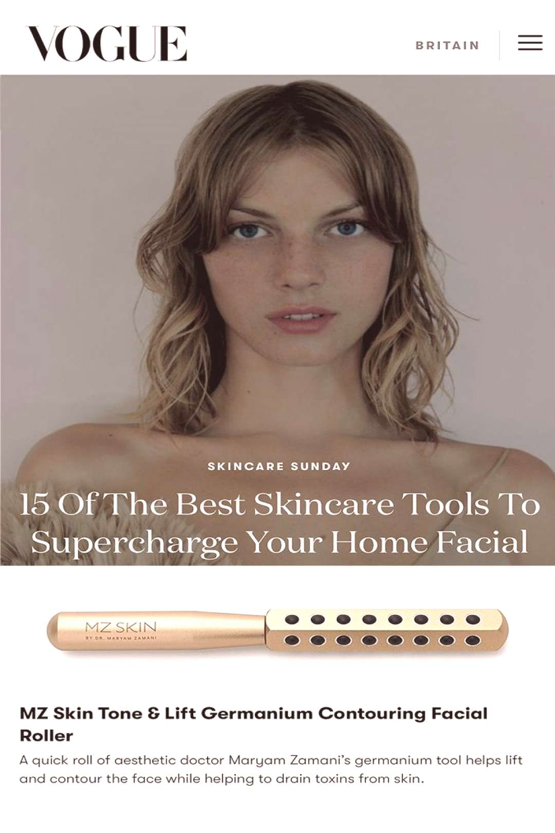 15 Of The Best Skincare Tools To Supercharge Your Home Facial | British Vogue Vogue features MZ Ski