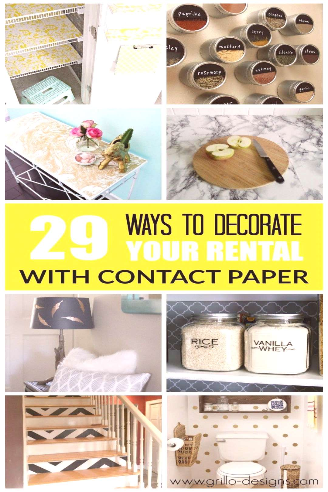 29 WAYS TO DECORATE YOUR RENTAL WITH CONTACT PAPER | Grillo Designs
