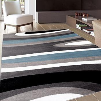 Abstract Contemporary Modern Blue Area Rug 7' 10