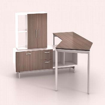 An angled desk top perfect for contouring your work to your day. The Miro line by Watson is a solut
