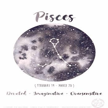 Astrology Card - Zodiac Signs - Pisces, Milky way Watercolor, Sky constellations illustration, Gala