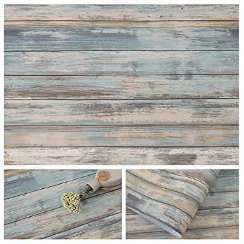 Blue Rustic Wood Paper 17''x120'' Self-Adhesive Removable