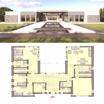 Bungalow House Konzept Modern European Contemporary Architecture with Swimming-Pool Terrac...