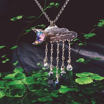 Cloudy with a Chance of Stargazing by Tsukiko SilverWorks Dangle Cloud Necklace featuring Vulpecula
