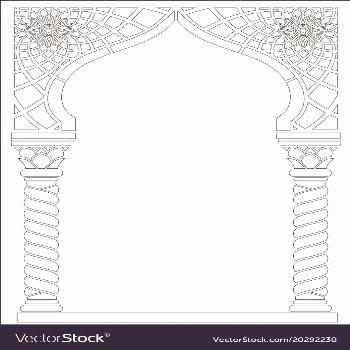 Contouring coloring. Architectural arch in Arabic or other Eastern style ... -  Contouring coloring