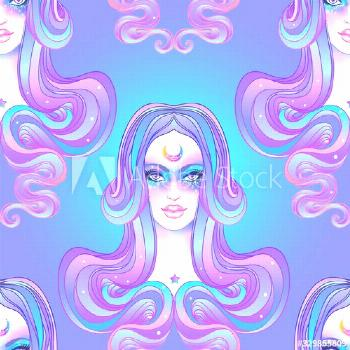 Cute girl with galaxy make up, dyed purple hair and stars, constellations. Seamless pattern. Art no