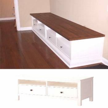 DIY – Bench Build Out using two IKEA Hemnes TV consoles. Full Step-by-Step Tutorial.  recover del