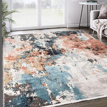 Grey & Copper Abstract Area Rug, Azure Collection -