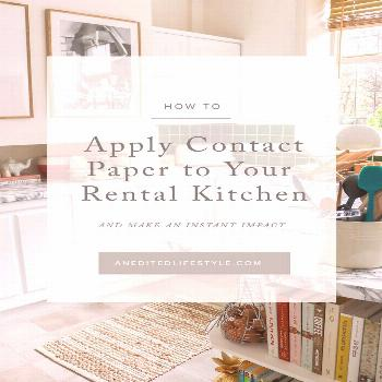 How to Apply Contact Paper to Your Rental Kitchen Countertops rental, rental decor cabinets, rental