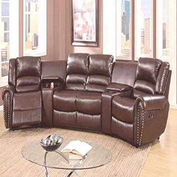 New 5pcs Brown Bonded Leather Reclining Sofa Set Home Theater Sectional Sofa Set  Two Center Consol