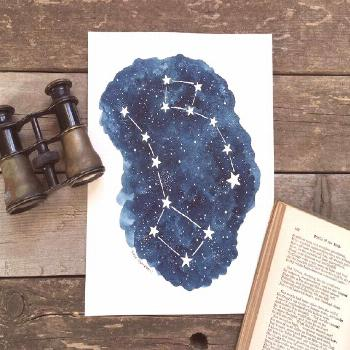 Original Painting of the Big and Little Dipper Celestial Watercolor Constellations, Ursa Majo... Or