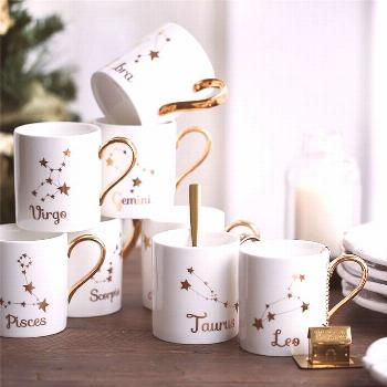 Penelope Collection Ceramic Mugs with Constellations Inspired Designs -