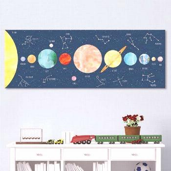 Solar system art print with dreamy watercolor planets and constellations that reflect the dark ...
