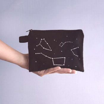 Space Constellations Zipper Pouch, Pencil Case, Cosmetic bag with handmade print -  ** Hey fellas!