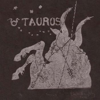Taurus Constellation Print in silver on black, Constellations from the Zodiac Lino Block Prin... Ta
