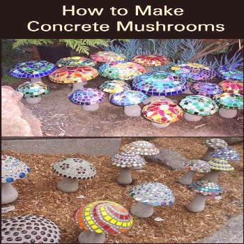 These concrete mushroom lights would make great additions to your garden.