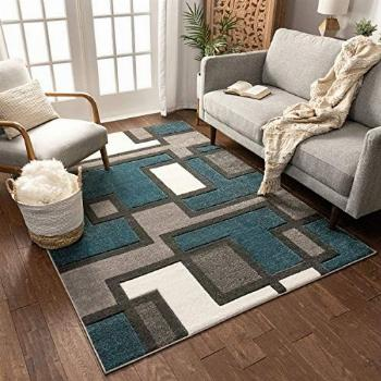 Uptown Squares Blue Grey Modern Geometric Comfy Casual Hand
