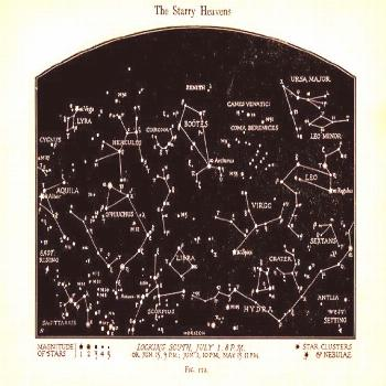 Vintage Constellations Print - Night Sky Star Art - Star Chart Print - Black and White Sepia ... Vi