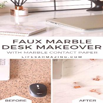 You can give your desk or countertop a major makeover with a roll of marble contact paper. Check ou