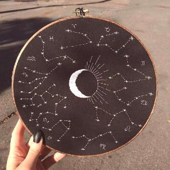 Zodiac constellations embroidery hoop decoration | | Zodiac constellations embroidery hoop decorati