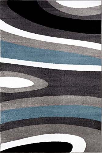 Abstract Contemporary Modern Blue Area Rug 7 10quot X 10 2quot