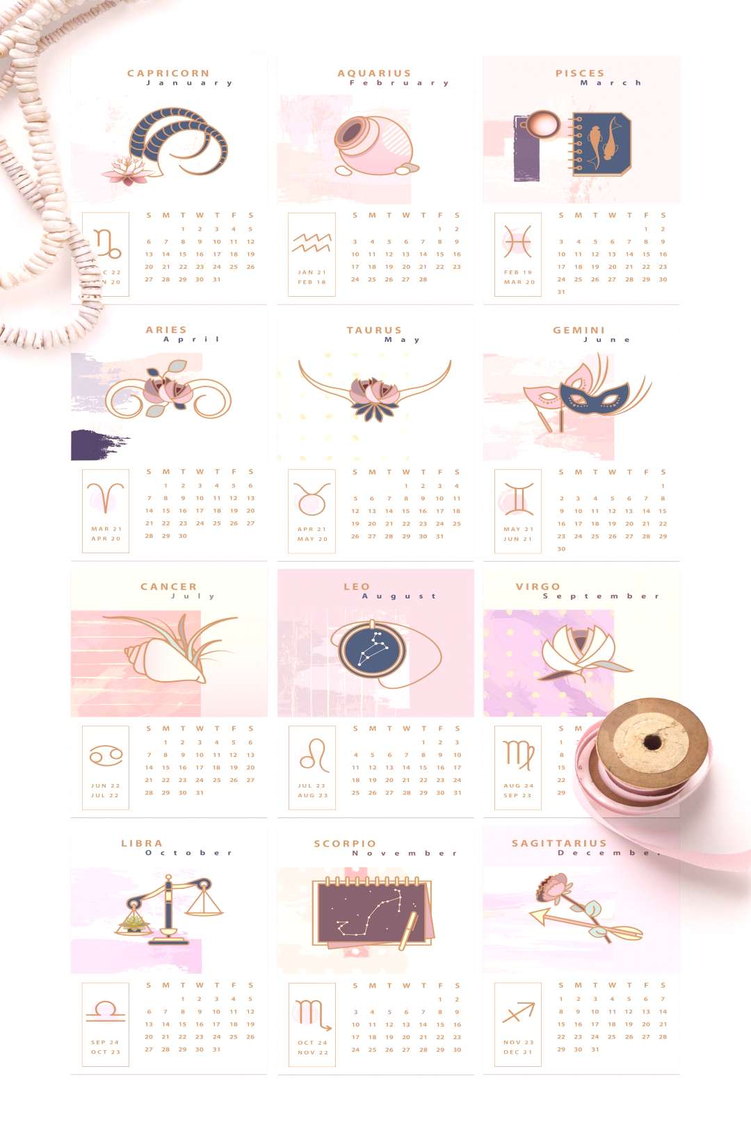 Astrology Calendar Templates pack includes two beautifully designed desk calendars in Constellation