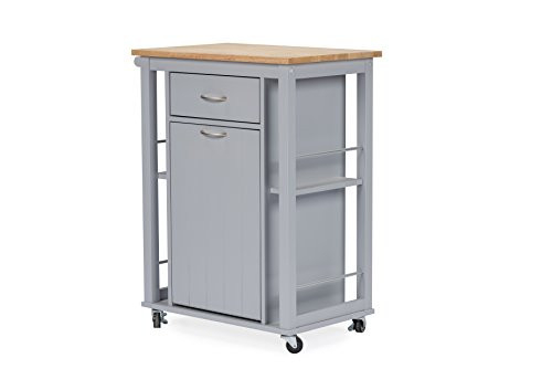 Baxton Studio Yonkers Contemporary Kitchen Cart with Wood