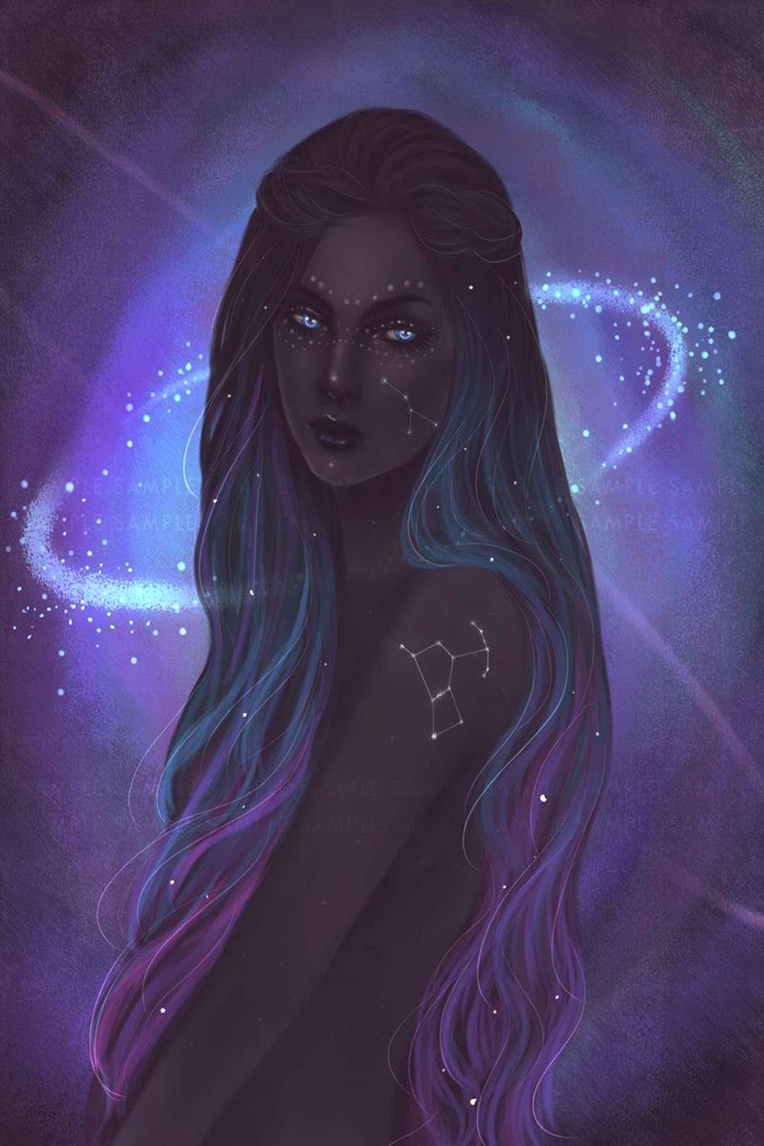 Beings with the constellations of the stars tattooed on their bodies with the brilliance of the moo