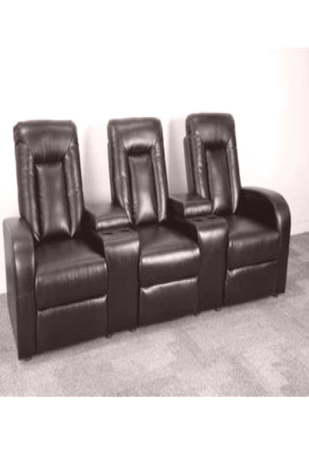 Black Leather 3-Seat Home Theater Recliner w/ Storage Consoles - Flash Furniture BT-70259-3-BK-GG