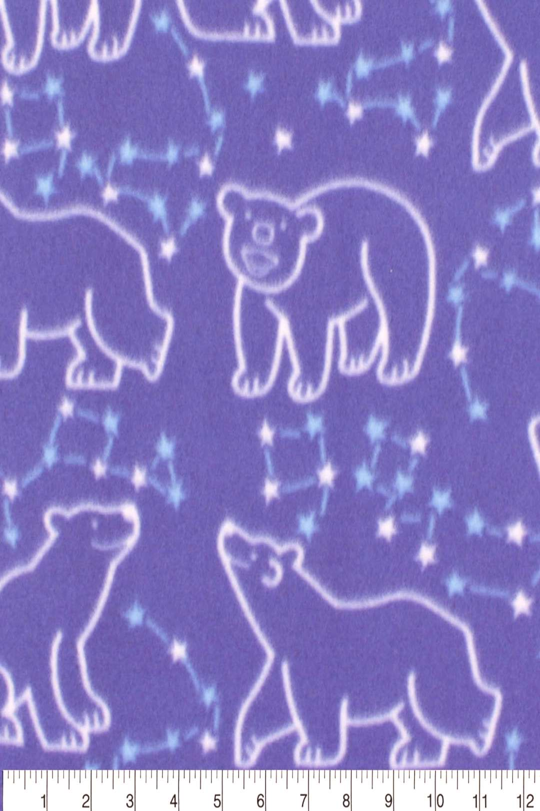 Blizzard Fleece Fabric Polar Bear Constellations ,
