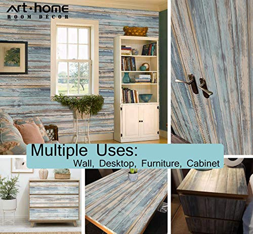 Blue Rustic Wood Paper 17x120 Self-Adhesive Removable