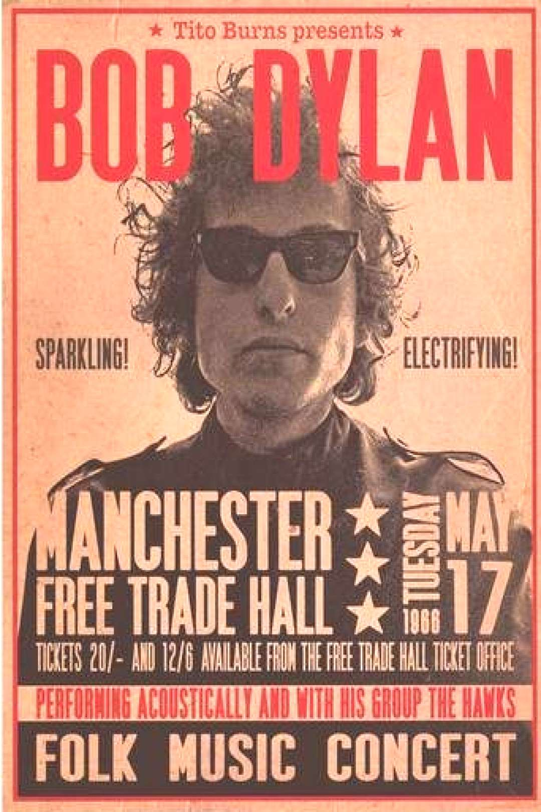 Bob Dylan Manchester 1966 Concert Poster 24x33 A classic Bob Dylan poster! From the legendary conce