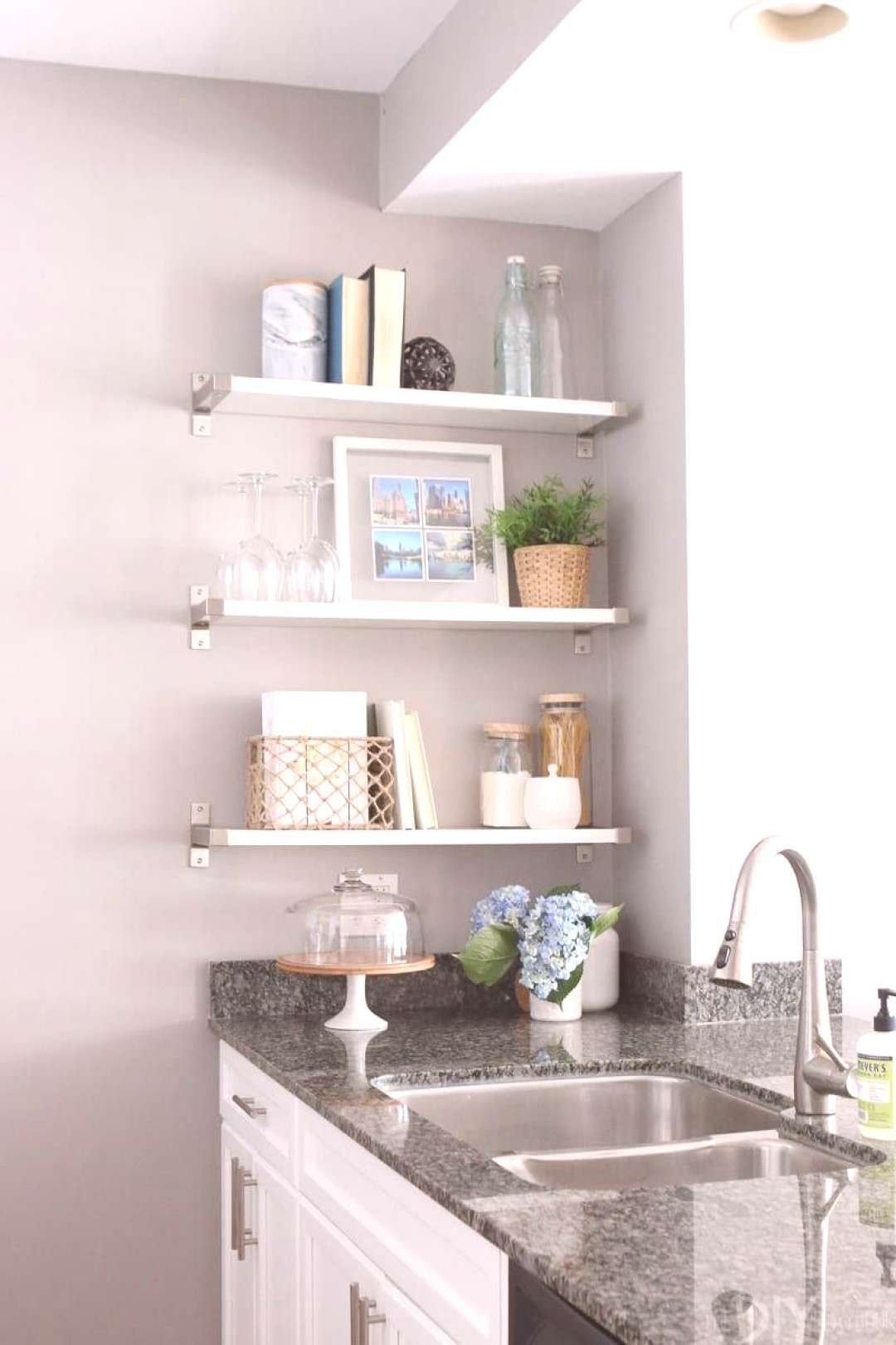 Built in shelving is a great storage option for small condos.