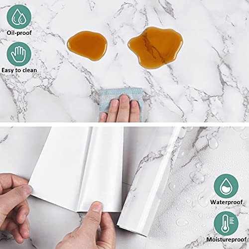 Caltero Marble Contact Paper 15.7quot x 118quot White Grey Marble