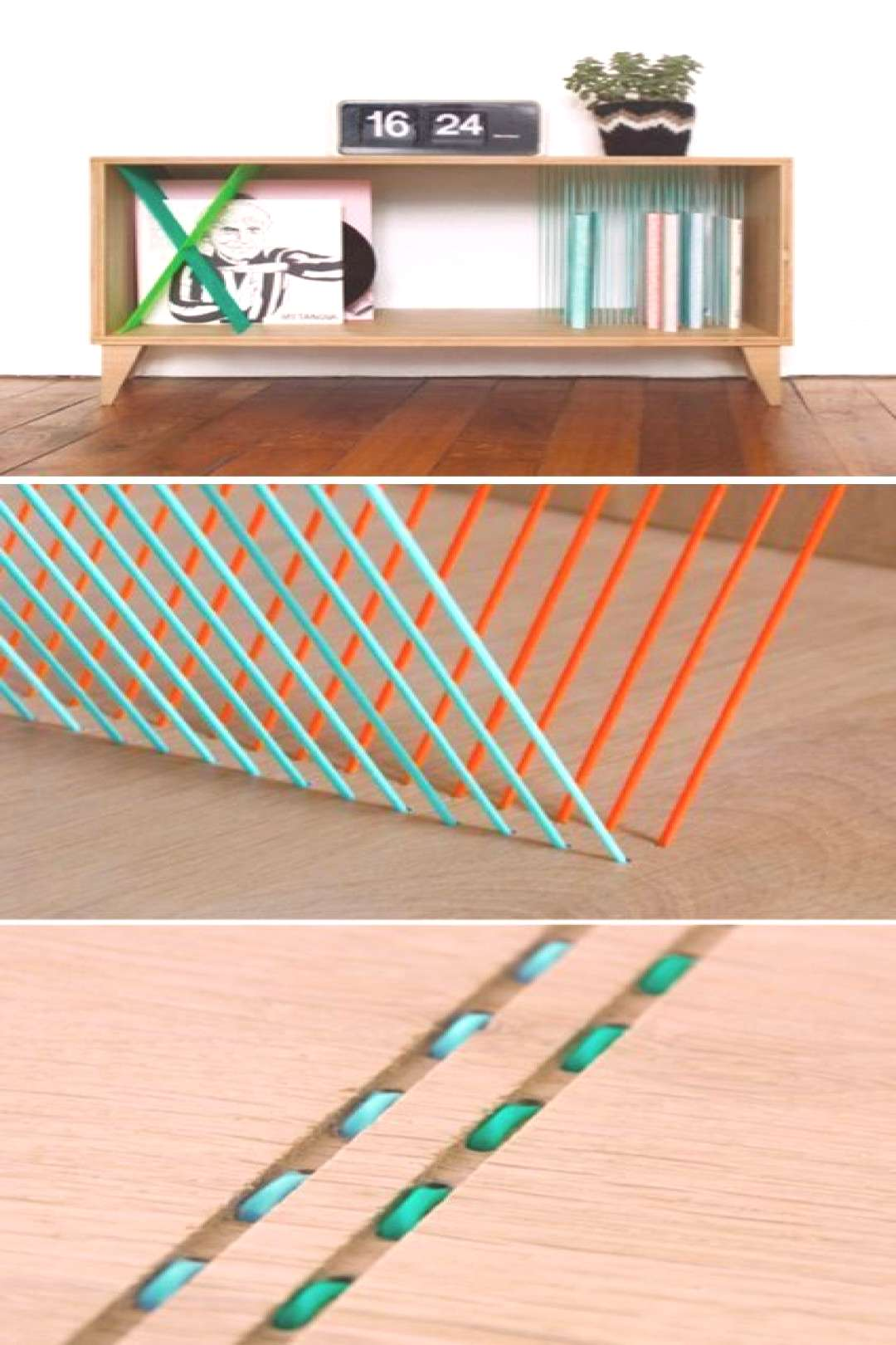 Consoles with graphic storage solutions. Elsa Randé. Made from oak and scoubido...
