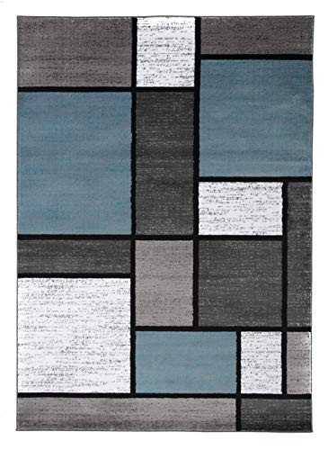 Contemporary Modern Boxes Area Rug 5 3quot X 7 3quot Blue/Gray