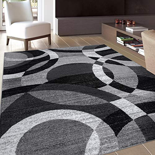 Contemporary Modern Circles Gray Area Rug Abstract 7 10quot X