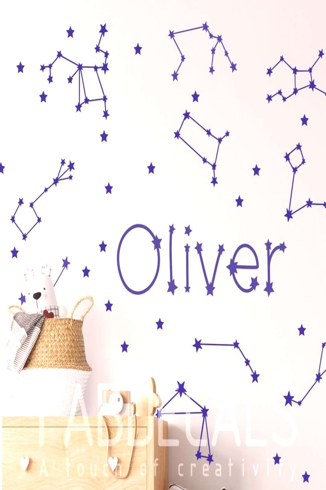 Custom Name And Constellations Map Wall Decal, Zodiac Decor, Outer Space, Kids Room Decor#constella