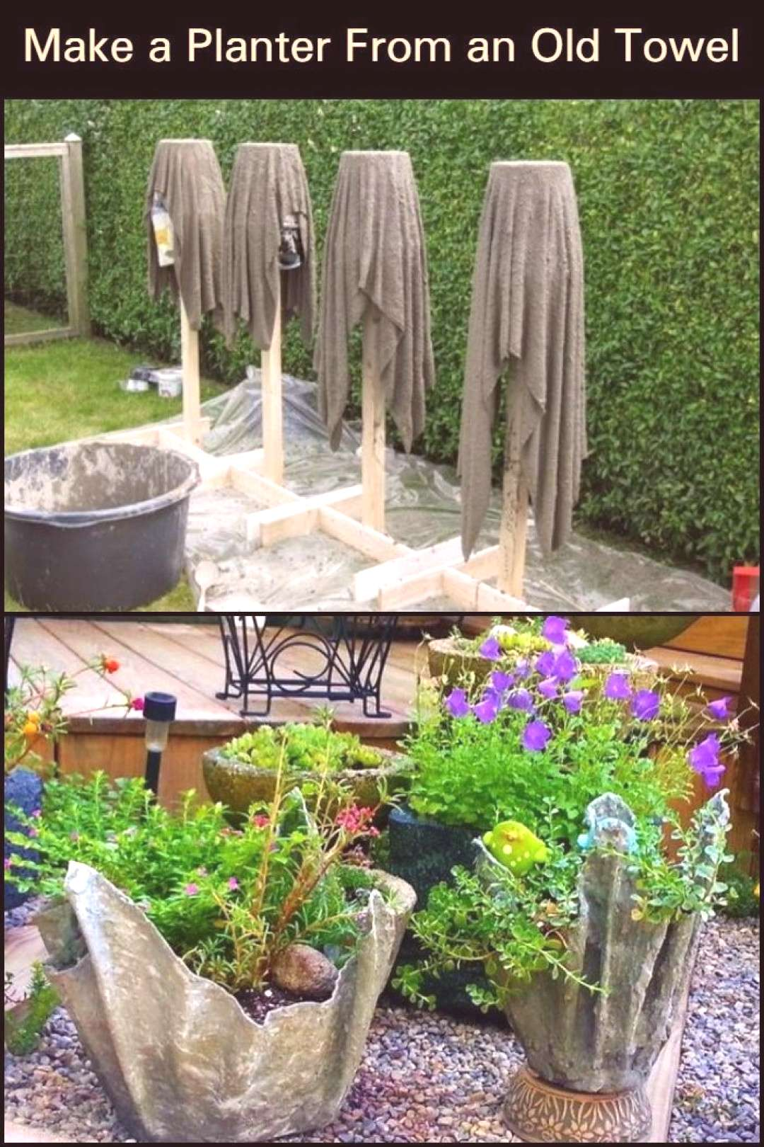 Decorate Your Home and Grow More Flowers by Turning an Old Towel into a Stunning Concrete Planter