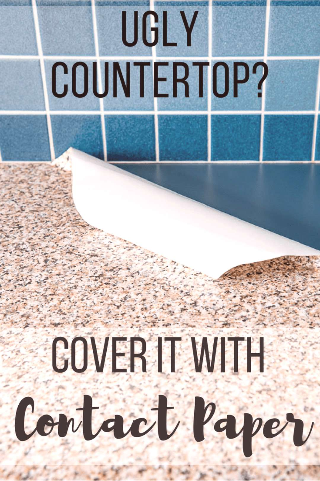 Dont suffer with an ugly kitchen countertop! Cover it with contact paper! This contact paper kitch