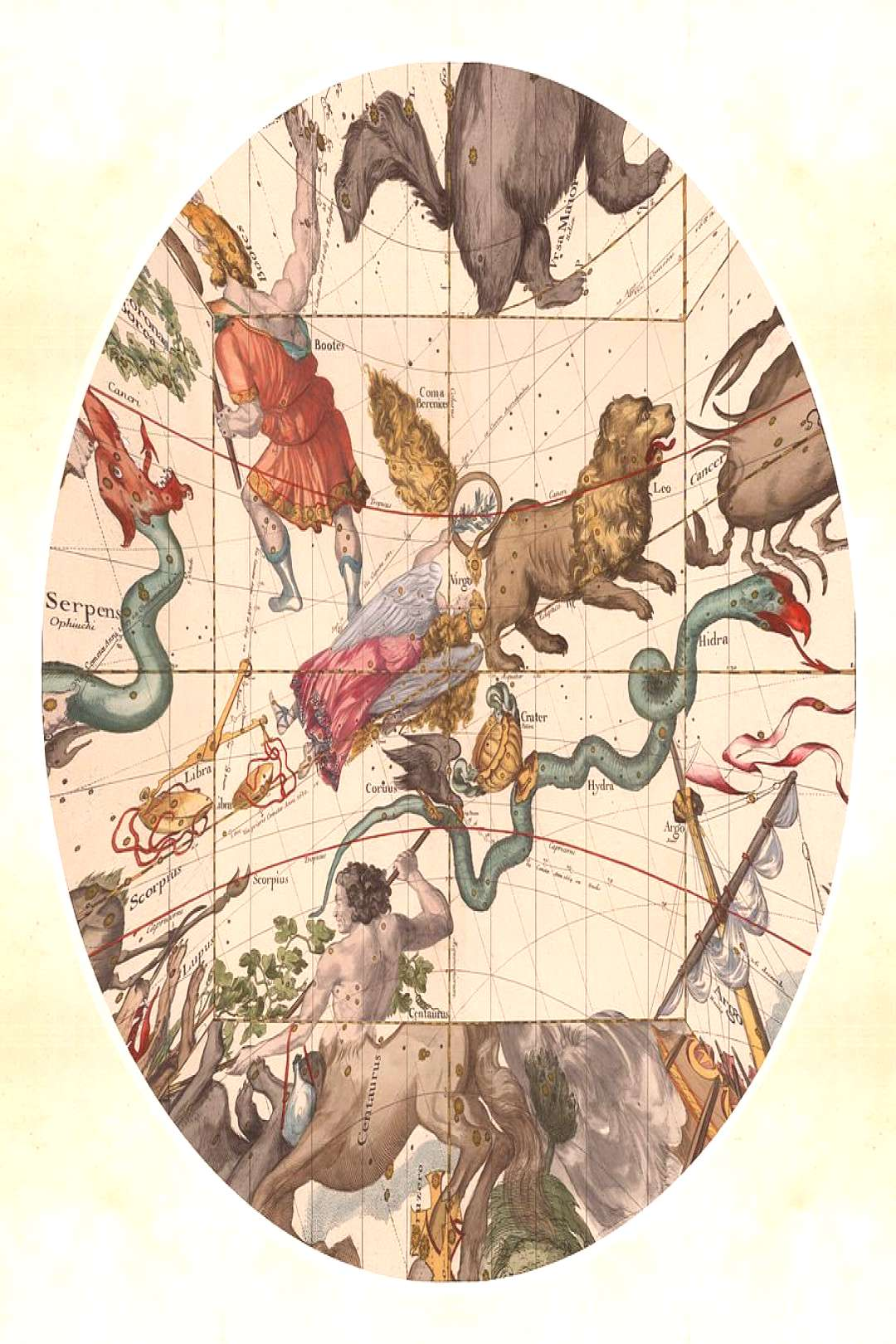 Drawing - Celestial Map - Constellations - Virgo, Hydra, Leo, Libra - Illustrated Map Of The Sky by