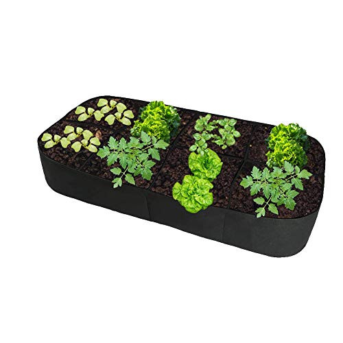 Fabric Divided Raised Garden Bed Outdoor 6FT X 3FT 8 Holes