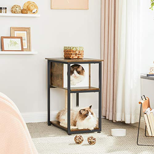 FEANDREA Cat Tree and End Table, Cat Tower with Scratching