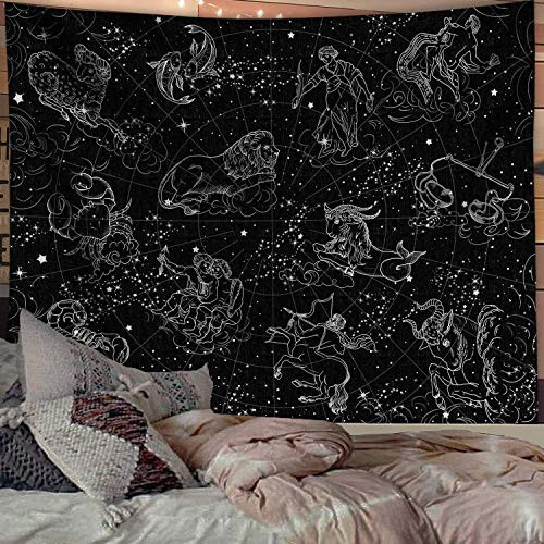 Fowocu Constellation Stars Tapestry Wall Hanging, Black and