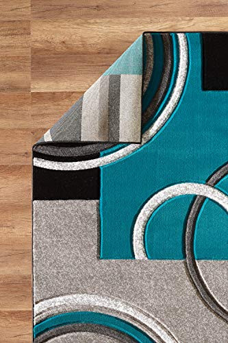 GLORY RUGS Area Rug Modern 8x10 Turquoise Soft Hand Carved