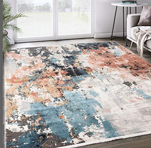 Grey amp Copper Abstract Area Rug, Azure Collection -