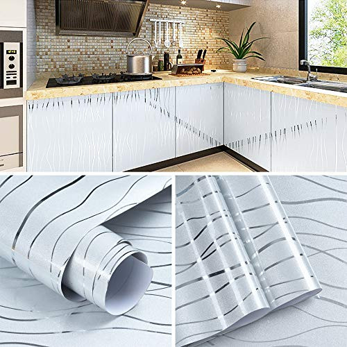 Grey Glossy Contact Paper Silver Stripes Peel and Stick