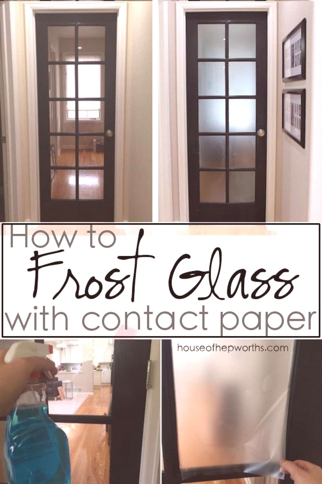 How to FROST GLASS with contact paper. Looks great and is removable. Tutorial at