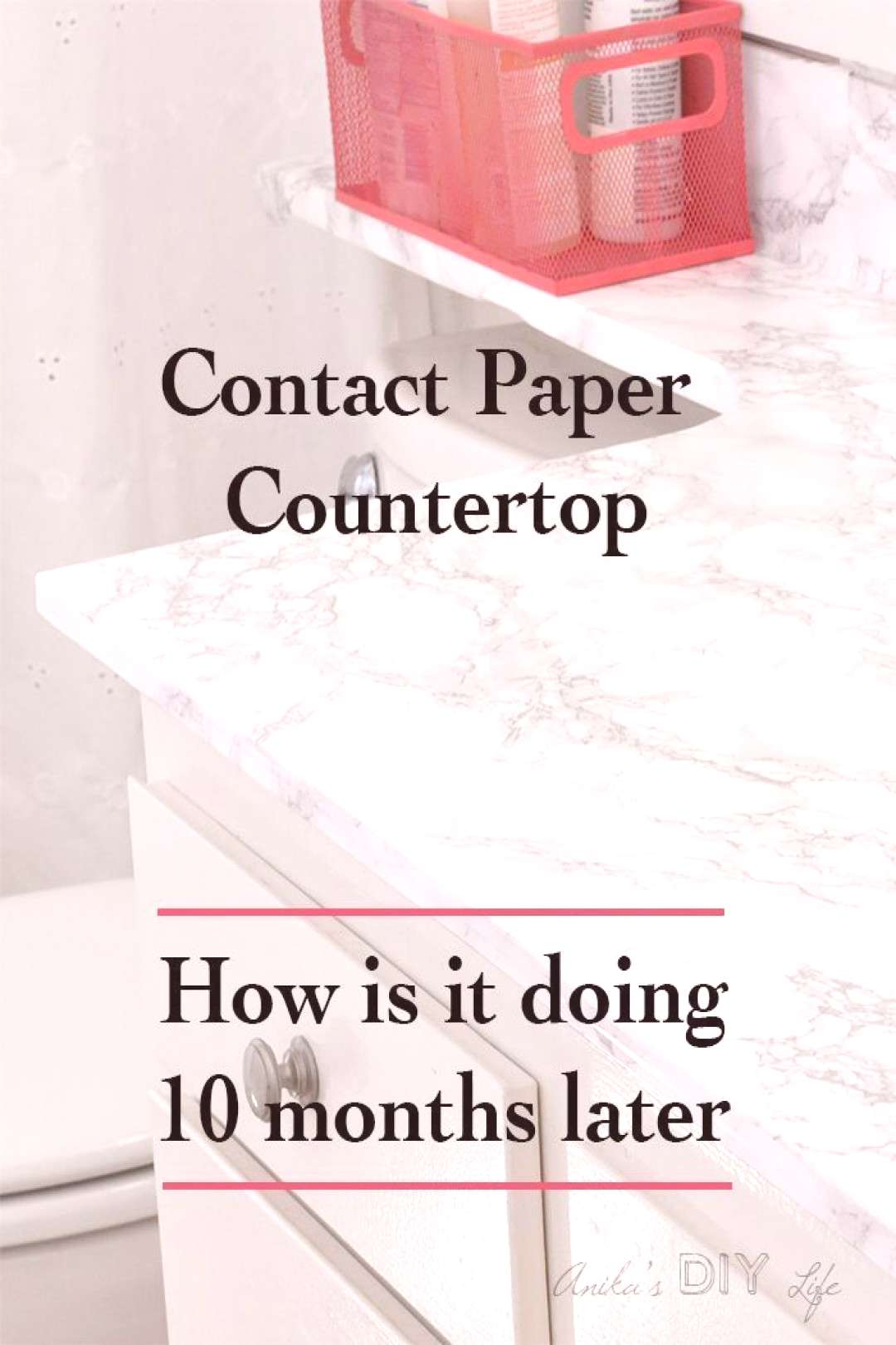 I can't believe how this marble contact paper countertop has held up in a bathroom! Be sure to chec